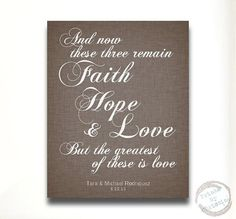 Personalized Wedding Gift Faith Hope Love 1 Corinthians 13 13 Custom Art Print First Anniversary  Names