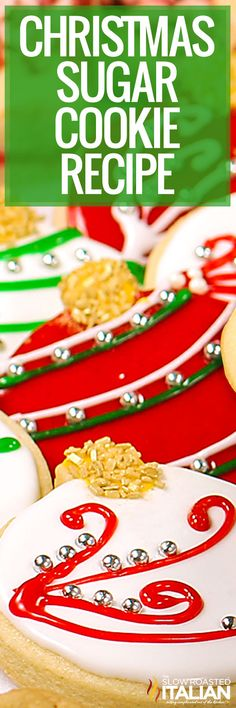 These Christmas sugar cookies taste amazing and hold their shape without spreading. Make them today to give as gifts or leave out for Santa! Christmas Sugar Cookie Recipe, Holiday Cookies, Holiday Treats, Holiday Recipes, Christmas Recipes, Cookie Desserts, Holiday Baking, Christmas Desserts, Best Sugar Cookies