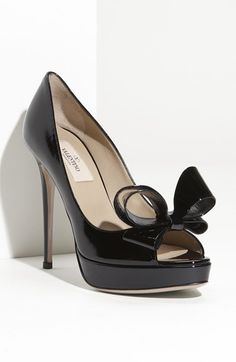 Free shipping and returns on Valentino Couture Bow Platform Pump at Nordstrom.com. A signature bow adds dimension and charm to a glossy peep-toe pump, steadied by a slender wrapped heel and platform.