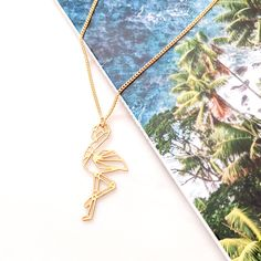 Flamingo Necklace Gold / Silver Geometric origami syle Turtle Necklace, Bird Necklace, Initial Necklace, Flamingo Necklace, Geometric Origami, Origami Necklace, Geometric Necklace, Cool Necklaces, Animal Jewelry