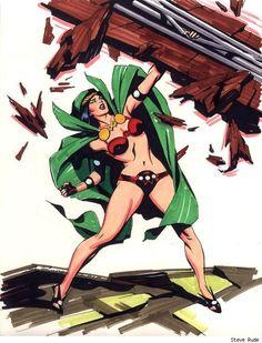 Big Barda by Steve Rude Comic Book Girl, Comic Book Artists, Comic Book Heroes, Comic Artist, Comic Books Art, Dc Heroes, Dc Comics Girls, Dc Comics Art, Bruce Timm