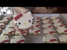 How to make HELLO KITTY marshmallows cookies step by step มาร์สแมลโล่ว์คุกกี้ คิตตี้ - YouTube