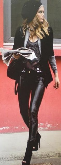 Rocker chic. I could never ever pull this off. But I kind of love the look.