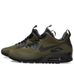 Buy the Nike Air Max 90 Mid Winter in Dark Loden & Black from leading mens fashion retailer END. - only Fast shipping on all latest Nike products. Nike Air Max, Nike Free Shoes, Nike Shoes Outlet, Air Max Sneakers, Sneakers Nike, Ugg Winter Boots, Ugg Boots, Zapatos Shoes, Swagg