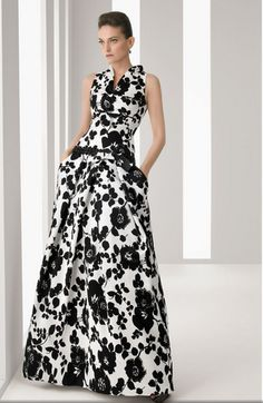 black and white printed gown