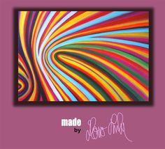 Acrylbild retro Streifen bunt von Hono Lulu bzw. fummelhummel rot pink orange gelb grün blau türkis schwarz lila