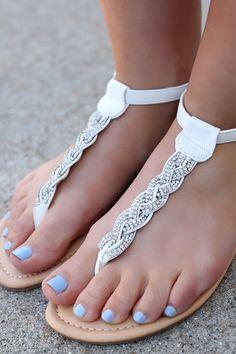 White Braided Gem Sandals TANAYA-224 | UOIOnline.com: Women's Clothing Boutique