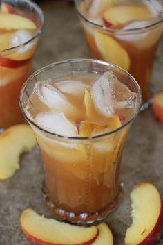 Peach Ginger and Bourbon Ice Tea