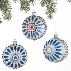 Set of 3 Scandi Flower Ball Ornaments in Christmas Ornaments Christmas Palace, Blue Christmas, Christmas Balls, Christmas Crafts, Christmas Decorations, Christmas Ornaments, Holiday Decorating, Christmas Ideas, Merry Christmas