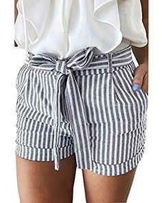 GAMISOTE Women Summer Striped Shorts Casual Hot Pants with Belt at Amazon Women's Clothing store