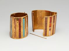 Hinged Cuff Bracelet Period: New Kingdom Dynasty: Dynasty 18 Reign: reign of Thutmose III Date: ca. Ancient Egyptian Jewelry, Egyptian Art, Egyptian Temple, Ancient Art, Turquoise Glass, Art Object, Metropolitan Museum, Bracelet Making, Jewelery