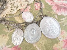 LAYERED medal assemblage necklace religious by lilyofthevally