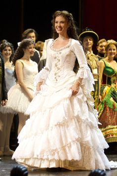Sierra Boggess (Christine Daae) during the curtain call for the 25th anniversary of The Phantom of the Opera at the Royal Albert Hall, London, England on 2nd October 2011. Photo: Dan Wooller
