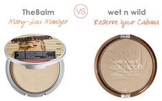 The Balm Mary-Lou Manizer compared to Wet n Wild Coloricon Bronzer in Reserve Your Cabana. I have both and LOVE MaryLou Manizer and I feel it can't be duped but Reserve Your Cabana is a really nice product with a subtle golden-beige shimmer. Nyx Cosmetics, Dupes Nyx, Drugstore Makeup Dupes, Beauty Dupes, Highlighter Makeup, Bronzer, Beauty Makeup, Highlighters, Elf Dupes