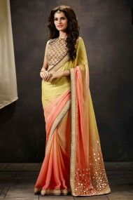 Art Silk Party Wear Designer Saree In Pink and Cream Colour