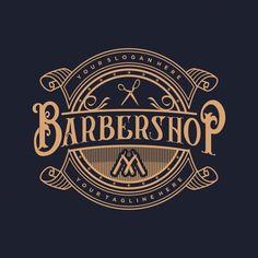 O logotipo para barbearia com estilo vintage Vetor Premium Barber Shop Interior, Barber Shop Decor, Logo Barbier, Barbershop Design, Barbershop Ideas, Custom Business Signs, Barber Logo, Vintage Lettering, Logo Vintage