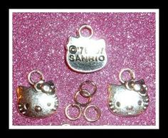 2 + 4 Piece Authentic SANRIO HELLO KITTY Kawaii 2 Charms + 4 BONUS Jump Rings for You! :)