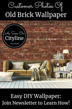 Watch this Old Brick Wallpaper on Cityline with Colin and Justin and then see it on real customer's walls! Faux Brick Wallpaper, Diy Wallpaper, Brick Bedroom, Orange Brick, Outdoor Sofa, Outdoor Decor, Old Bricks, Easy Diy, Walls