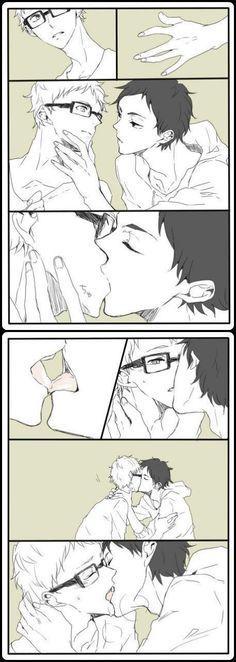 akaashi and tsukki. this is quiet hot >. Haikyuu Smut, Haikyuu Tsukishima, Kuroo Tetsurou, Akaashi Keiji, Haikyuu Ships, Tsukiyama Haikyuu, Manga Sport, Lgbt Anime, Anime Couples
