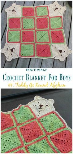 Teddy Go Round Afghan Free Crochet Pattern- #Crochet; #Blanket; Free Patterns For Boys