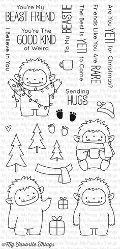"MFT STAMPS: Beast Friends (4"" x 8.5"" Clear Photopolymer Stamp Set) This package includes Beast Friends, a 23 piece set including: - Yeti Characters (4) ranging from 1 3/8"" x 1 ¾"" to 1 ¾"" x 2"" - Sentim"