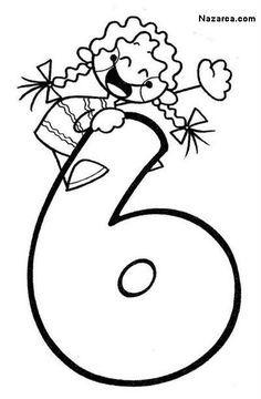 6 Sayısı Rakamı Boyama Sayfaları Anasınıfı Pinterest Math