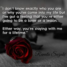 """""""I don't know exactly who you are or why you've come into my life but I've got a feeling that you're either going to be a lover or a lesson… Either way, you're staying with me for a lifetime."""" - Ranata Suzuki * love, relationship, beautiful, words, quotes, story, quote, passion, desire, lust, romance, romanticism, heartbreak, heartbroken, longing, devotion, paramour, amour, attraction, alluring * pinterest.com/ranatasuzuki"""