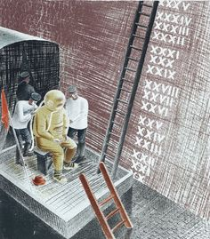 """'The Diver' by Eric Ravilious from """"The Submarine Series"""", 1941"""