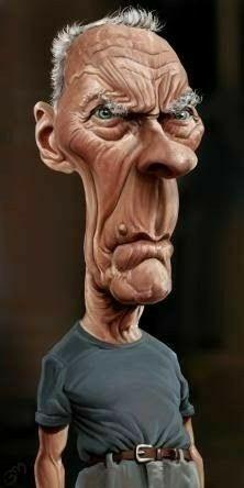 Bruno Munier: Clint Eastwood in Gran Torino Cartoon People, Cartoon Faces, Funny Faces, Cartoon Art, Funny Caricatures, Celebrity Caricatures, Celebrity Drawings, Clint Eastwood, Caricature Artist