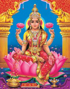 Lakshmi is the Hindu goddess of wealth, prosperity All God Images, Hindu New Year, Tao, Lord Murugan Wallpapers, Buddha, Lakshmi Images, Mother Goddess, Divine Mother, Unique Poster