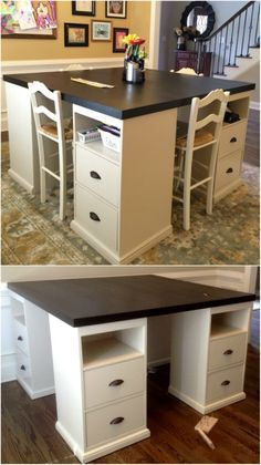 Kids Craft Tables, Craft Tables With Storage, Craft Room Tables, Craft Room Storage, Craft Rooms, Diy Crafts Desk, Craft Desk, Sewing Craft Table, Sewing Room Design