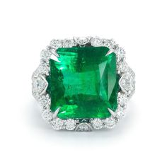 Natural  13.11 ct Magnificent  EMERALD AND DIAMOND White Gold 18K   RING / GIA  #SolitairewithAccents