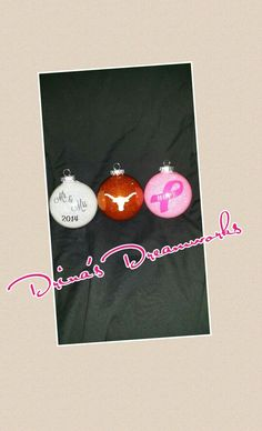 Personalized Hand Glittered Ornaments Starting at $8-$12 depending on design Visit www.facebook.com/drinasdreamworks