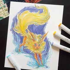 Shimmery Flareon Original 8 x 10 Colorful Copic by LemonWatercolor #Pokemon #Eevee #PokemonGO
