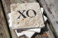XO ~ Hugs & Kisses ~ Black Stamped Travertine Tile Coaster Set by TrendyTrioDesigns on Etsy