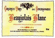 Beaujolais Blanc French Wine Label