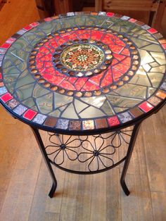Side Tables - Mosaic table, side table, garden, bistro table - a unique product by Scherbenkiste on DaWanda