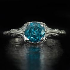 VINTAGE-1ct-VIVID-BLUE-ROUND-DIAMOND-SOLITAIRE-COCKTAIL-RING-ART-DECO-FILIGREE