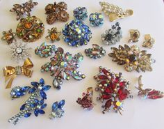 VINTAGE ESTATE RHINESTONE BROOCH EARRINGS COLLECTION JULIANA D&E BEAU AUSTRIA  #VARIED