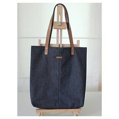 Dark Color Denim Tote Bag - Metal Zipper Organizer Bag Present - Handmade Bag - Genuine Leather Handle - Canvas Bag - Shoulder Shopper Bag