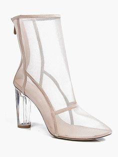 Boohoo Lola Clear Cylinder Mesh Sock Boot