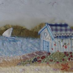 UE22 Beach Hut, Wells - Originals from Abigail Mill Embroidery Fabric Cards, Beach Huts, Textiles, Fabric Houses, Raw Edge, Wells, Mixed Media Art, Textile Art, Brooches