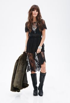 Sheer Lace Dress | FOREVER21 - 2000058307 Forever21 Mobiles