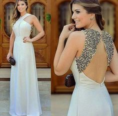 Charming White Beading Prom Dress,Halter Evening Dress,Sexy Backless Party Dress,Floor Length Party Dress
