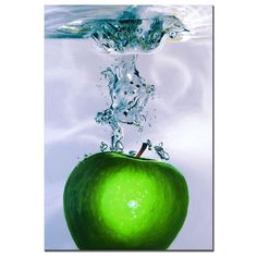 This vertical contemporary canvas art is the perfect way to add a splash of bright color to any room in your home or office. Medium in size, this gallery-wrapped print features a detailed still-life portrait of a bright green apple.