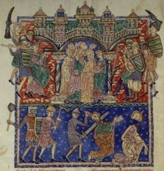 Shield designs include barry, barry within a bordure, bendy within a bordure, and possibly bezanty, though it is difficult to make out. BNF Nouvelle Acquisition Latine 2290 f106v, 1200-1225, Castille, Spain.