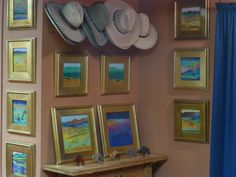 Cris Fulton dream landscapes in watercolor on Aquabord with ceramic bison by Sarah Snavely.