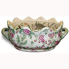 @Overstock - Elevate indoor plants to new heights with a floral azalea design oval planterAccent piece is made of 100-percent Chinese porcelainDecorative accessory has a crown edge finish with a hand-painted coy fish as inside lininghttp://www.overstock.com/Home-Garden/Azelea-Crown-Porcelain-Footbath-Planter/4044137/product.html?CID=214117 $70.99