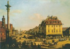 Bernardo Bellotto, called Caneletto.1767-1768. View of  Krakowskie Przedmieście Street from the Zygmunt III Column  Bernardo Bellotto called Canaletto (c. 1721/2 or 30 January 1721 – 17 October 1780) was an Italian urban landscape painter or vedutista, and printmaker in etching famous for his vedute of European cities (Dresden, Vienna, Turin and Warsaw). Postcard.