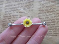 Beatiful Daisy Flower industrial barbell by DancingYouth on Etsy, $7.59